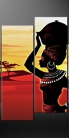 African-Lady-Sunset-Split-Canvas-Wall-Art-Pictures-Prints-Larger-Sizes-Available-111516813295